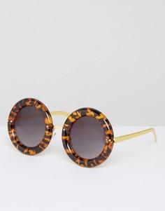 Круглые солнцезащитные очки в массивной черепаховой оправе 7X - Коричневый