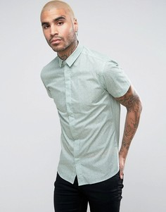 Зауженная рубашка с короткими рукавами и принтом Noose & Monkey - Зеленый