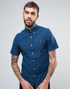 Синяя узкая рубашка в клетку с короткими рукавами Farah Cosford - Синий