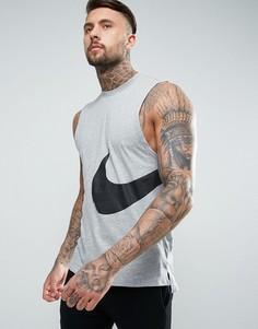Серая майка с большим логотипом-галочкой Nike Hybrid 847681-063 - Серый