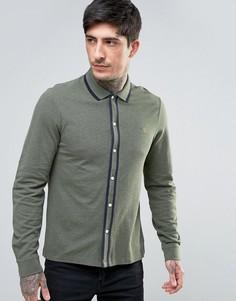 Зеленая меланжевая рубашка с длинными рукавами и контрастной отделкой Farah Homerton - Зеленый