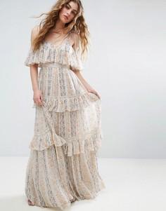 Платье макси с плиссировкой и цветочным принтом Needle and Thread - Розовый