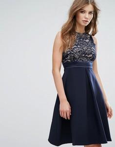 Приталенное платье миди с кружевным лифом Vesper - Черный