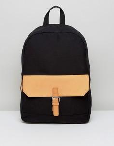 Черный рюкзак с отделкой из светло-коричневой искусственной кожи ASOS - Черный