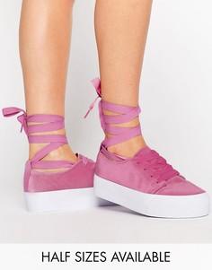 Бархатные кроссовки с завязками ASOS DENVER - Розовый