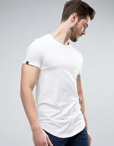 Длинная меланжевая хлопковая футболка с карманом Produkt - Белый