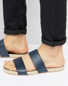 Синие кожаные сандалии с подошвой из джута ASOS - Темно-синий