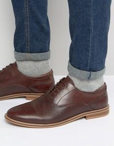 Оксфордские туфли из коричневой кожи с перфорацией ASOS - Коричневый