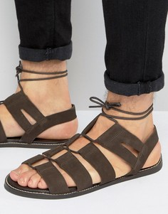 Коричневые замшевые сандалии-гладиаторы на шнуровке ASOS - Коричневый