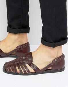 Бордовые кожаные сандалии с плетеной отделкой ASOS - Красный