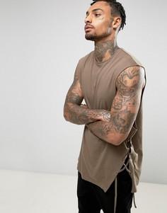 Свободная футболка без рукавов со шнуровкой ASOS - Коричневый