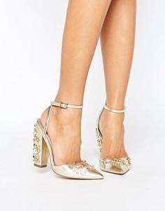 Туфли на каблуке с отделкой ASOS PALL MALL - Золотой