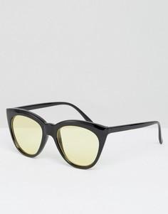 Солнцезащитные очки кошачий глаз с желтыми стеклами ASOS - Черный