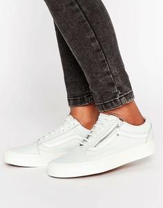 Кожаные мятные кроссовки с молниями Vans Old Skool - Мульти