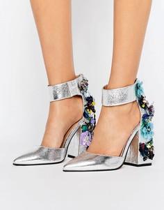Декорированные туфли на каблуке ASOS POPSTAR - Серебряный