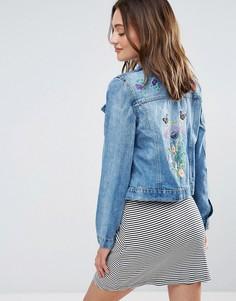 Джинсовая куртка с вышивкой Brave Soul - Синий