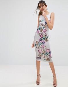 Облегающее платье миди с цветочным рисунком и бретелями на спинке ASOS - Мульти