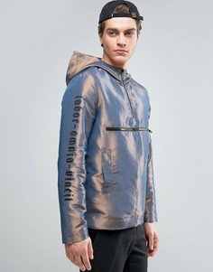 Серебристая куртка-ветровка с принтом на рукавах ASOS - Серебряный
