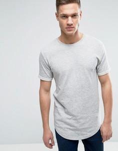 Двухслойная футболка с закругленным низом Only & Sons - Серый