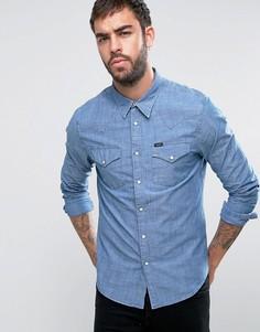 Узкая рубашка в стиле вестерн из ткани шамбре Lee - Синий