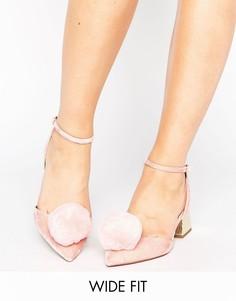 Туфли для широкой стопы на среднем каблуке с помпонами ASOS SAUCY - Розовый