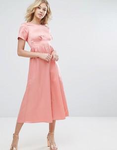 Комбинезон из матовой атласной ткани ASOS - Розовый
