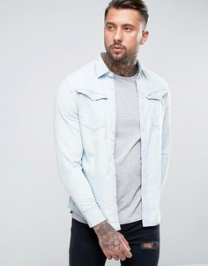 Светлая джинсовая рубашка классического кроя с потертостями G-Star Arc 3D - Синий