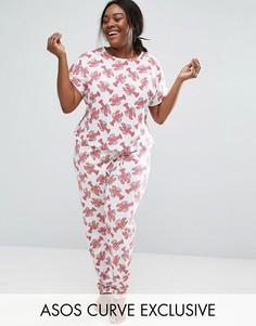 Пижамный комплект с принтом омаров ASOS CURVE - Мульти
