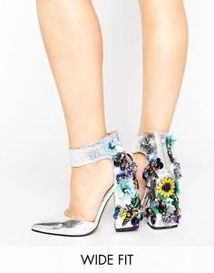 Туфли на каблуке для широкой стопы ASOS POPSTAR - Серебряный
