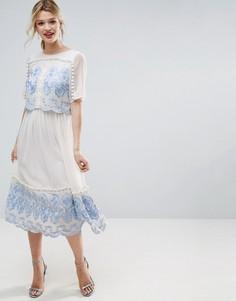 Двухслойное платье миди с вышивкой ASOS PREMIUM - Белый