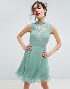 Платье мини без рукавов с кружевной вставкой ASOS - Зеленый