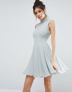 Платье мини с жемчужной отделкой ASOS - Синий