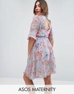 Короткое приталенное платье с вышивкой ASOS Maternity PREMIUM - Мульти