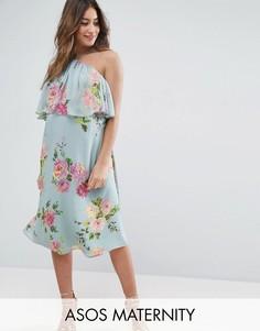Платье с цветочным принтом ASOS Maternity - Серый