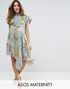 Асимметричное чайное платье с цветочным принтом ASOS Maternity - Синий