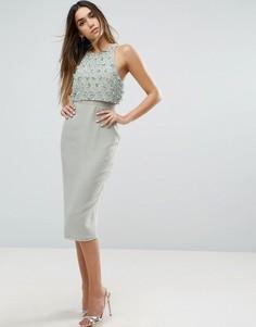 Платье-футляр миди с укороченным топом и отделкой ASOS - Синий