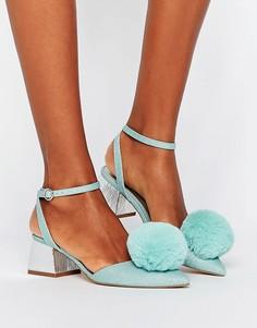 Туфли на среднем каблуке с помпонами ASOS SAUCY - Синий