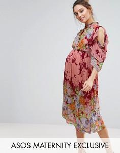 Платье миди с оборками и цветочным принтом ASOS Maternity - Мульти
