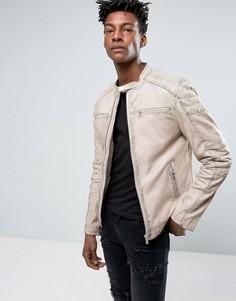 Бежевая кожаная куртка со стегаными вставками Goosecraft - Белый