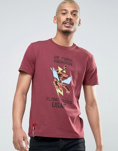 Бордовая футболка классического кроя с принтом Alpha Industries - Красный