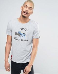 Серая меланжевая футболка классического кроя с принтом Alpha Industries - Серый