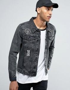Черная джинсовая куртка с нашивками Threadbare - Черный