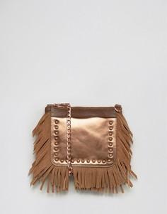 Серебристая кожаная фестивальная сумка через плечо с бахромой Urbancode - Медный