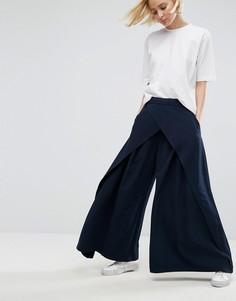 Широкие драпированные брюки ASOS WHITE - Темно-синий