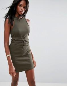 Платье мини с лифом-корсетом без рукавов с открытой спиной ASOS - Зеленый