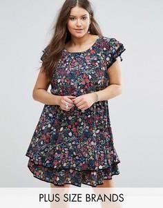 Короткое приталенное платье с оборками и цветочным принтом Koko Plus - Темно-синий