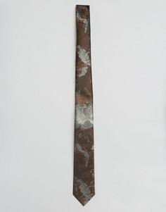 Коричневый узкий галстук с цветочным принтом ASOS - Коричневый