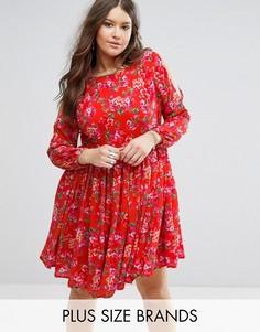 Платье с открытыми плечами и цветочным принтом Koko Plus - Оранжевый