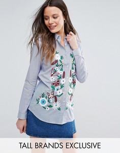 Рубашка в тонкую полоску с вышивкой Glamorous Tall - Мульти