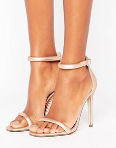 Легкие золотистые босоножки на каблуке с закругленными ремешками Missguided - Розовый